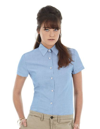 Mediatrix Kurzarm Damen Oxford Shirt