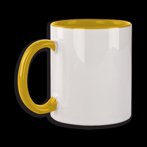 Tasse mit gelbem Henkel ab 72 Stk.