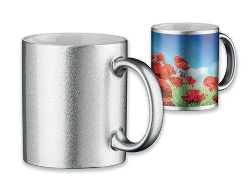 72 x Premium Keramik Tasse - Silber - mit Wunschmotiv / Logo - 4 farbig