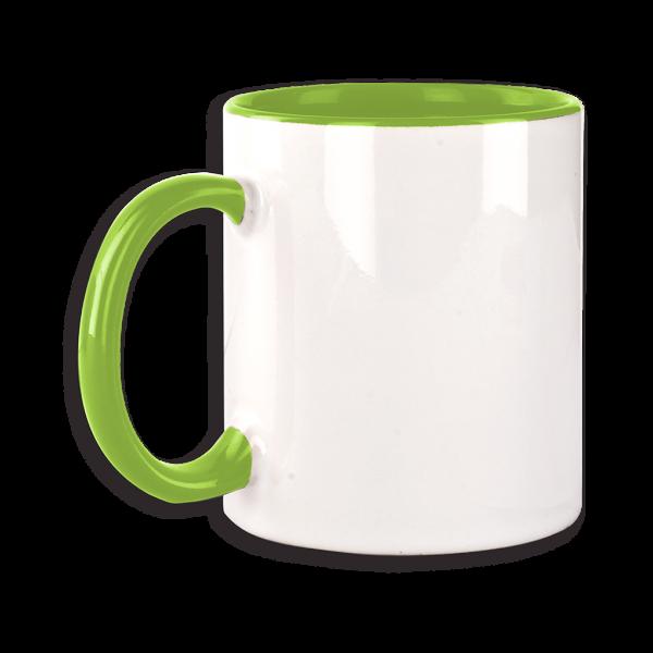 Tasse mit hellgrünem Henkel ab 72 Stk.