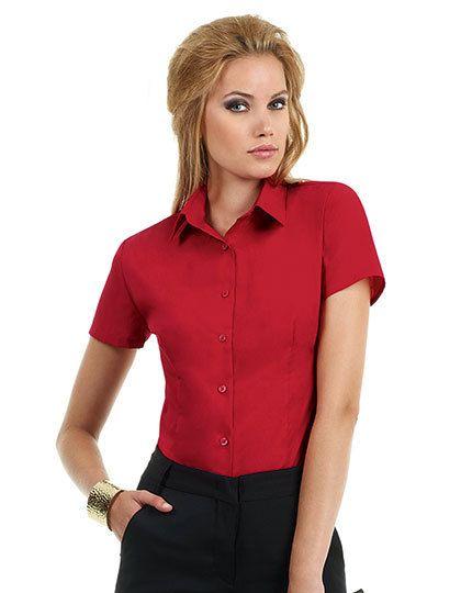 Mediatrix B&C Damen Kurzarm Poplin Shirt