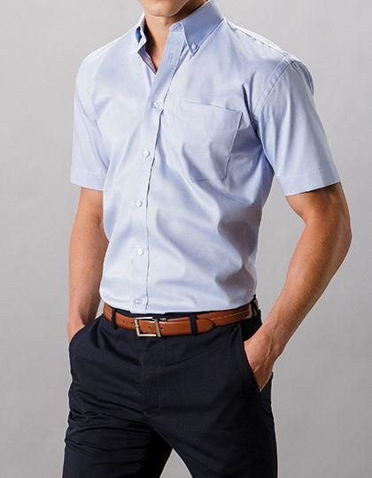 Mediatrix Kustom Kit Herren Kurzarm Oxford Hemd Light Blue