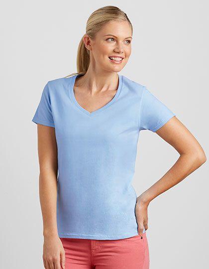 Mediatrix Gildan Damen Premium V-Ausschnitt T-Shirt
