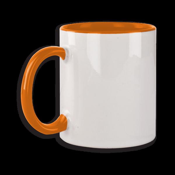 Tasse mit orangefarbenem Henkel ab 72 Stk.