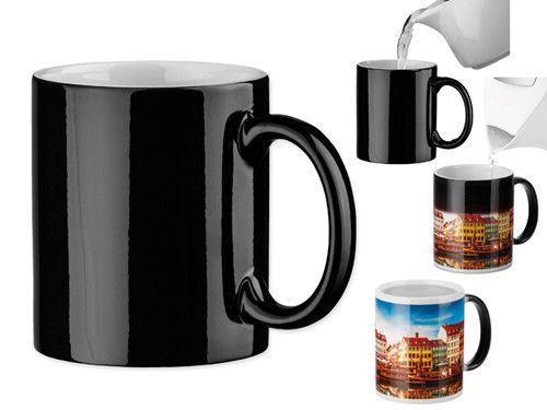 72 x Premium Keramik Magic Tasse - Schwarz - mit Wunschmotiv / Logo - 4 farbig