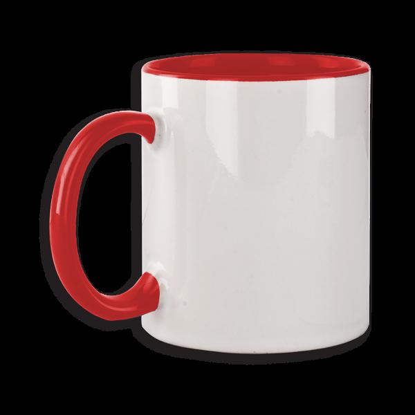 Tasse mit rotem Henkel ab 72 Stk.